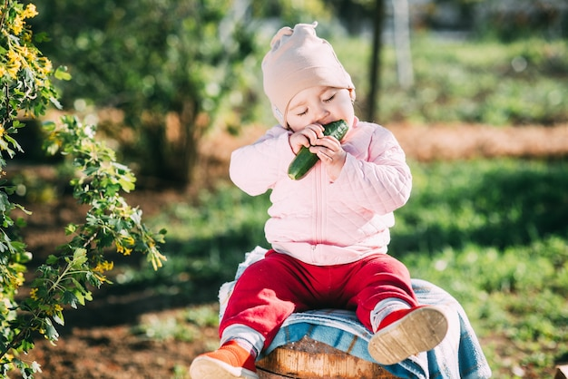 Funny little girl sitting on a barrel eating a fresh cucumber in the garden