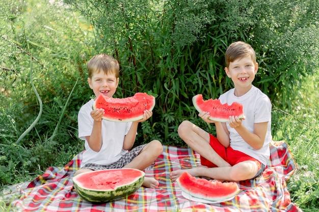 夏の日に自然の緑の芝生でスイカを食べる面白い小さな子供たち。屋外の兄と妹。幼児の男の子と女の赤ちゃん。子供たちは庭で果物を食べます。子供時代、家族、健康的な食事。