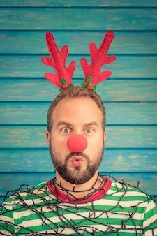 Funny man on christmas eve.