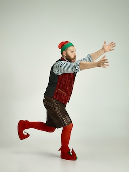 Funny man in elf costume