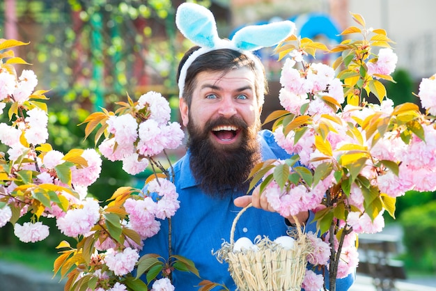 Funny man hunting easter eggs