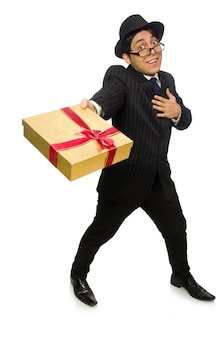 Funny man with giftbox on white