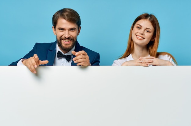 Funny man and woman billboard marketing fun emotions isolated background