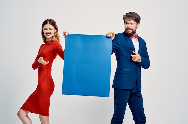 Funny man and woman blue mockup poster presentation advertisement