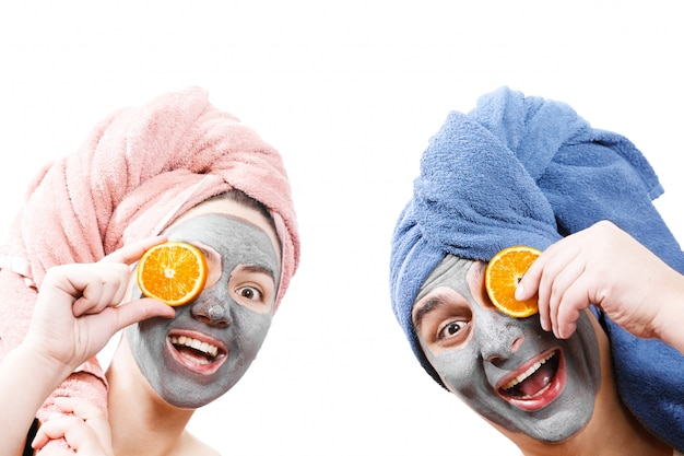 Funny man and woman in face mask