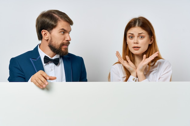 Funny man and woman officials presentation advertisement copy space poster mockup.