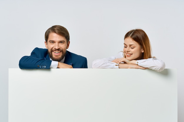 Funny man and woman officials presentation advertisement copy space