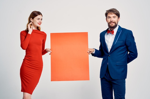 Funny man and woman red mockup poster copy space presentation