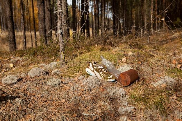 숲의 가장자리에 재미있는 낡은 신발, 플라스틱 및 금속 가정용 쓰레기