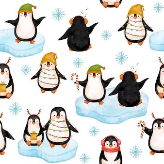 Funny penguins digital paper, christmas penguins in hats pattern.