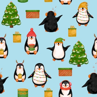 Funny penguins digital paper, christmas penguins pattern.