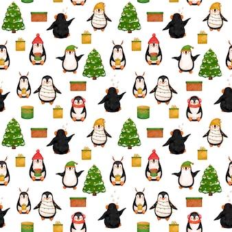 面白いペンギンのシームレスなパターン、冬の帽子のクリスマスペンギン。