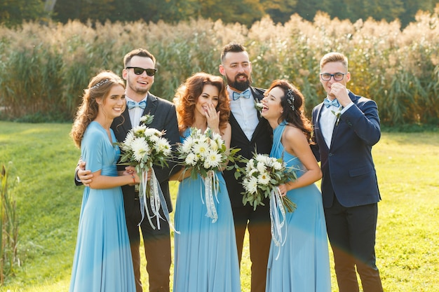 Funny photo of the groomsmen and bridesmaids