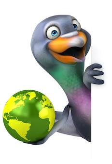 Funny pigeon 3d illustration