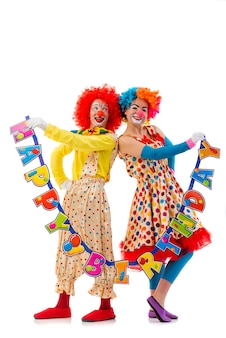 Funny playful clowns