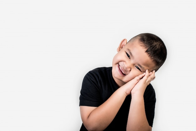 Funny portrait boy studio photo