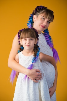 Funny positive mom and daughter