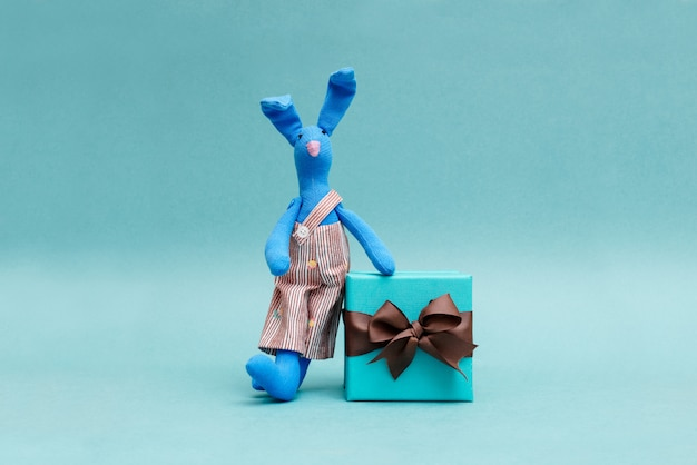 A funny rabbit with a beautiful gift