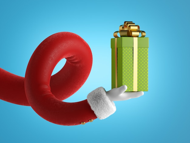 Funny santa claus cartoon character hand holds green wrapped gift box with golden bow.
