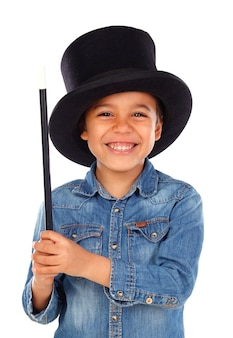 Funny small magician  with a top hat and a magic wand