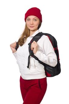 白で隔離されるバックパックと面白い学生