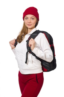 Funny student with backpack isolated on white