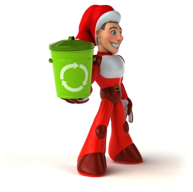 Funny super santa claus 3d illustration