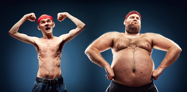 Funny team of fat and thin geeks show their muscles