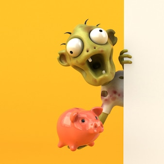 Funny zombie 3d illustration