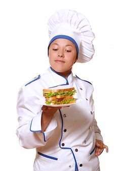 Funy chef woman on white