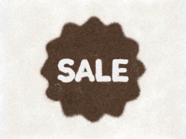 Fur sale icon sale icon isolated on white background sale badge or sticker sale made of fur