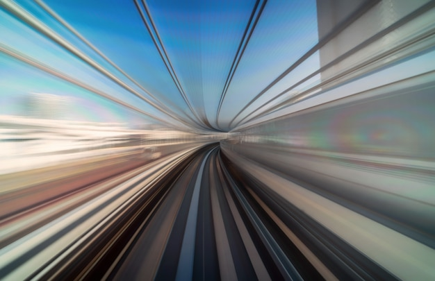 Furistic scene motion blur movement from tokyo japan train of yurikamome line moving