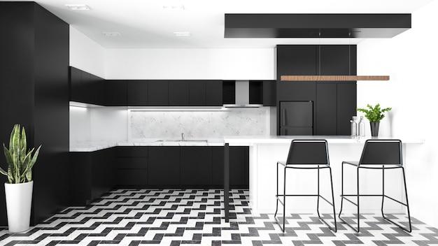 Furniture.3dレンダリングを備えたモダンなキッチンインテリア