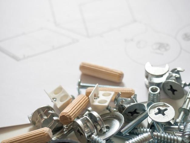 텍스트를 위한 가구 조립 개념, 부속품, 드라이버 및 조립 지침