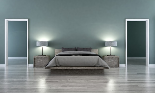 현대적인 인테리어, 침실, 스칸디나비아 스타일, 3d 렌더링, 3d 가구 장식