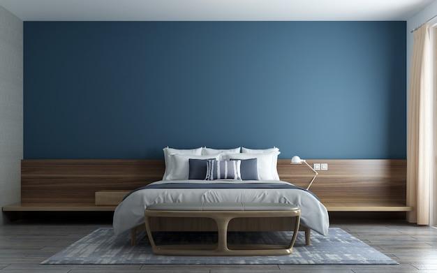 현대적인 인테리어의 가구 장식, 파란색 벽 거실, 스칸디나비아 스타일, 3d 렌더링, 3d