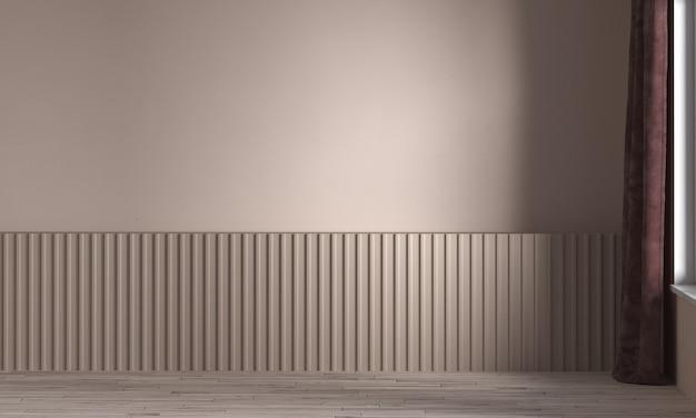 현대적인 인테리어의 가구 장식, 빈 베이지 색 거실, 스칸디나비아 스타일, 3d 렌더링, 3d