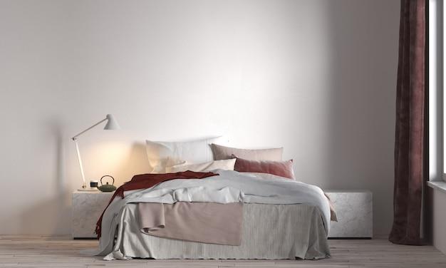 현대적인 인테리어의 가구 장식, 최소한의 침실, 스칸디나비아 스타일, 3d 렌더링, 3d