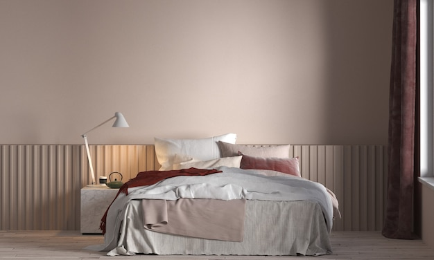 현대적인 인테리어의 가구 decorstion, 베이지 침실, 스칸디나비아 스타일, 3d 렌더링, 3d