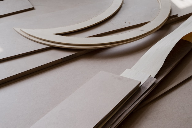 Furniture edges and tools. plywood cuttings
