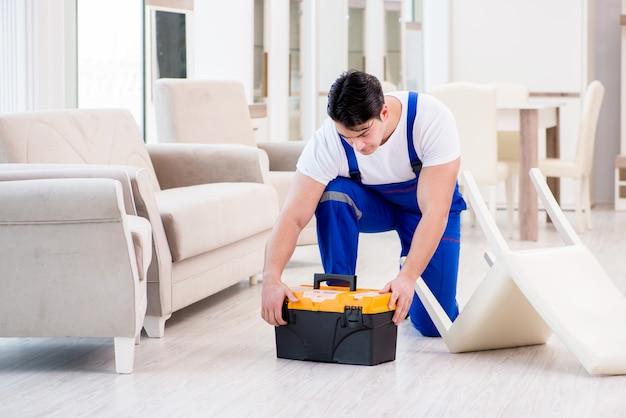 Furniture repairman working in store