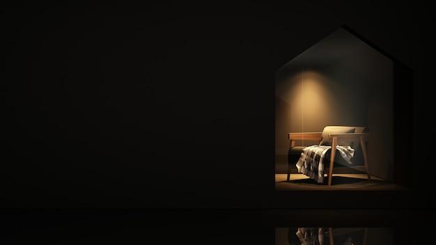 Furniture shop 3d rendering black background - triangle space minimal japanese