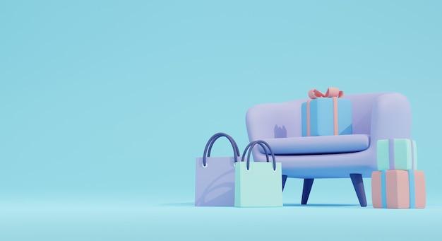Мебель покупки 3d иллюстрации. идеально подходит для мебельного магазина баннер