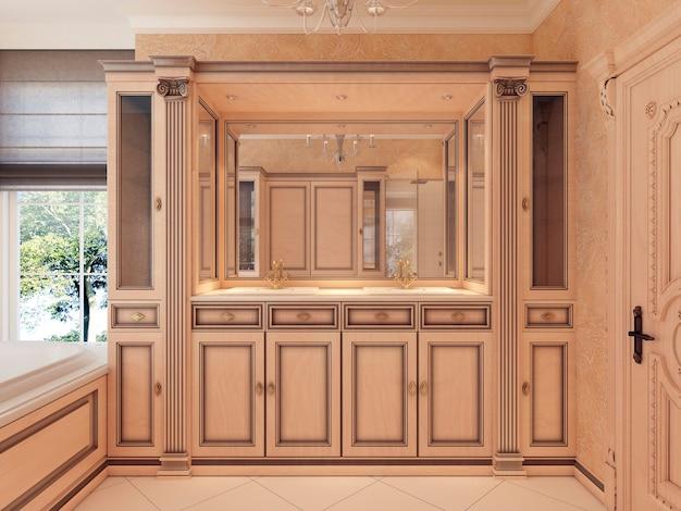 家具シンクバスキャビネットとベッドサイドテーブルとビルトイン照明。クラシックなスタイルのバスルーム。 3dレンダリング。