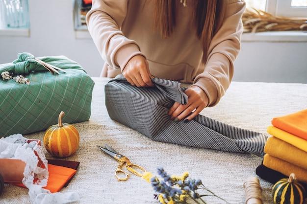 Японская подарочная упаковка furoshiki, день благодарения, без отходов, экологически чистая подарочная упаковка, руководство по процессу
