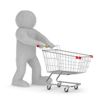 Furry man and shopping cart on white