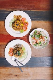 Fusion thai meal: top view of fried rice mackerel paste with thai mackerel