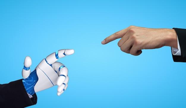 미래의 인공 지능 로봇과 사이보그.