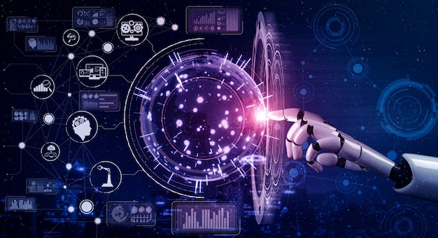 Будущий робот с искусственным интеллектом и киборг.