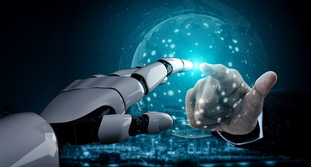 未来の人工知能ロボットとサイボーグ。